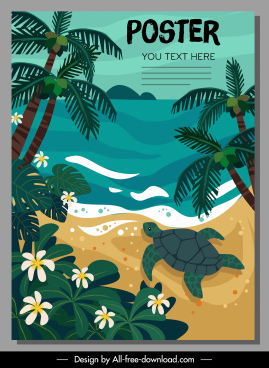 nature poster template beach scene sketch colorful classic
