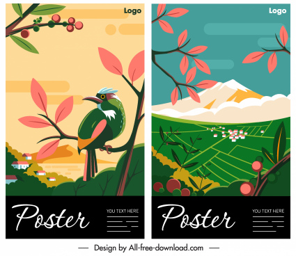 nature poster templates bird mountain sketch colorful classic