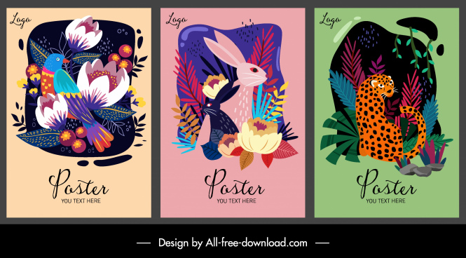 nature poster templates flora bird rabbit leopard decor