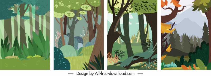 nature scene background templates colorful classical handdrawn sketch