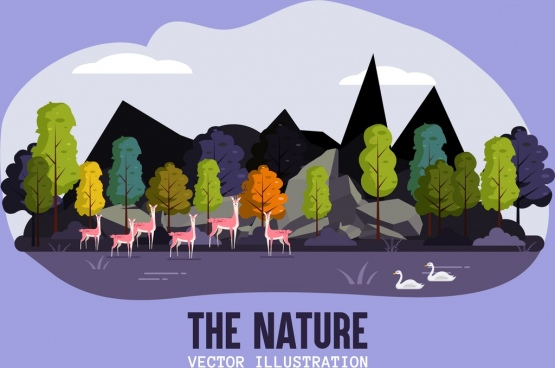 nature scene background trees reindeers swans icons decor