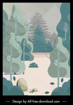 nature scene painting colored retro flat sketch