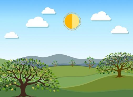 nature scene painting green decor trees sun icons
