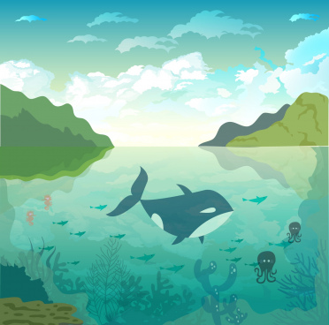 nature scene painting ocean species icons decor