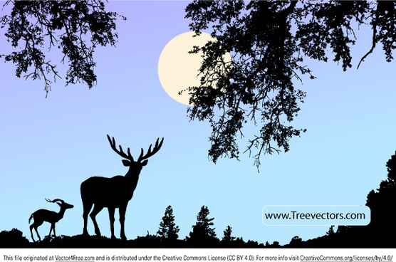 nature scene vector with deer