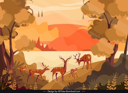 nature scenery painting reindeers forest sketch colored classic