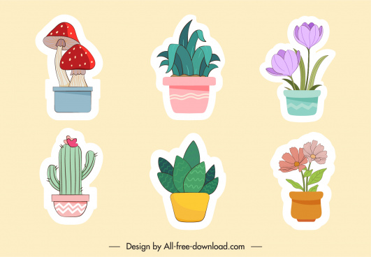 nature stickers colored flat pots sketch