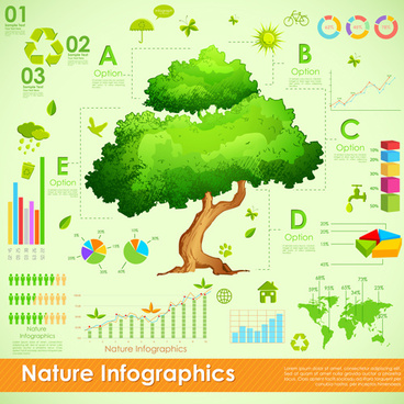 nature style infographics design vector