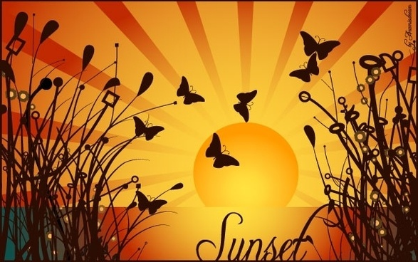NATURE SUNSET VECTOR GRAPHIQUE