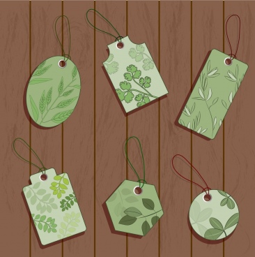 nature tags collection green flat design