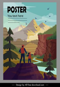nature traveling poster mountain scene cartoon design