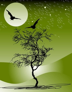 Nature tree moon bat night scene star