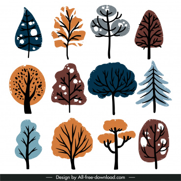 nature trees icons flat retro handdrawn design
