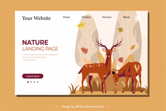 nature webpage template reindeers sketch classic cartoon design