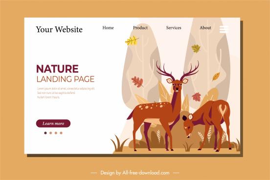nature webpage template reindeers sketch classic cartoon design