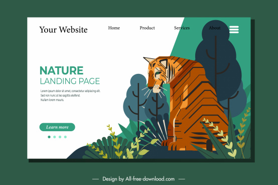 nature webpage template tiger sketch classic decor