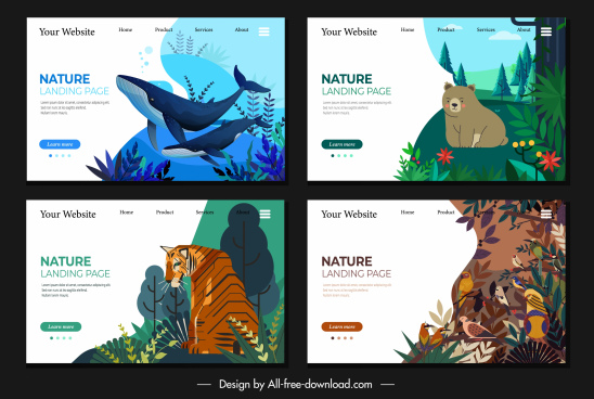 nature webpage templates animals sketch colorful cartoon design