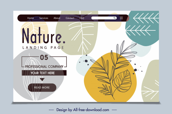 nature website template handdrawn flat leaf decor
