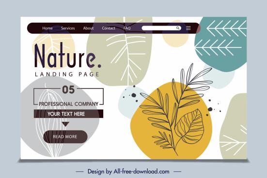nature website template handdrawn flat leaf decor