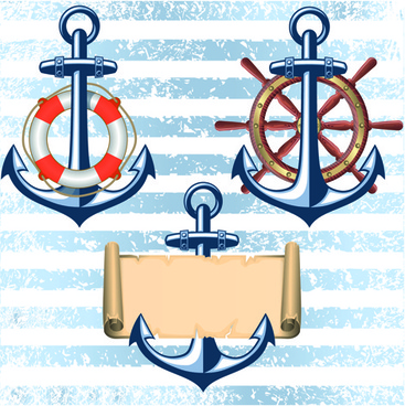 nautical elements and retro background vector
