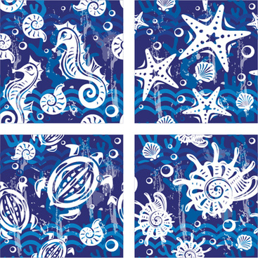 nautical elements blue seamless pattern vector
