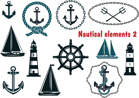 nautical elements vector pack