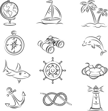 voyage design elements black white handdrawn symbols sketch
