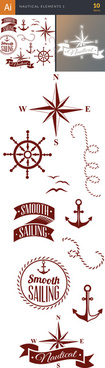 nautical label with elements vector