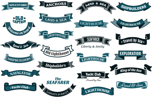 nautical ribbon banners vector set