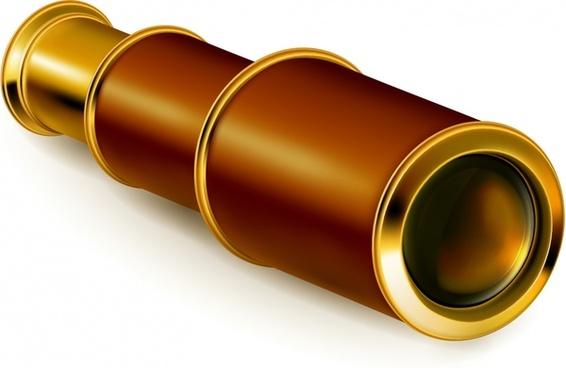 telescope icon shiny colored modern 3d sketch
