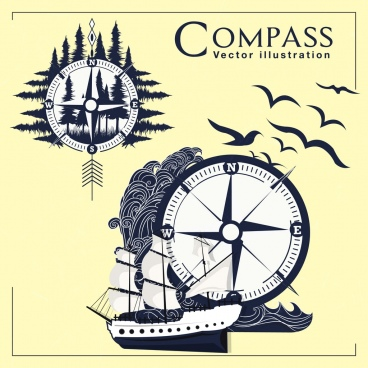 navigation background compass forest sea ship icons