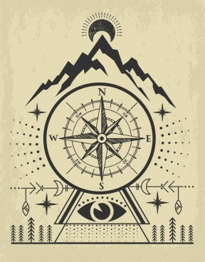navigation background compass mountain icons retro handdrawn design