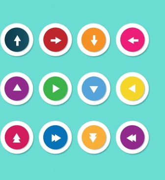 navigation buttons collection colorful round flat design