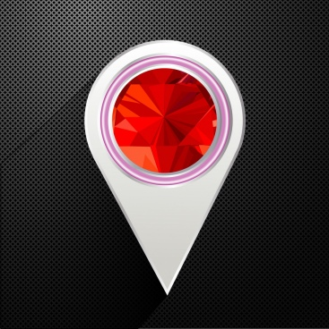navigation marker template modern rounded red polygonal decor
