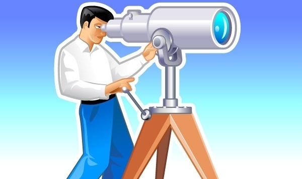 Navigator looks forward through the telescope