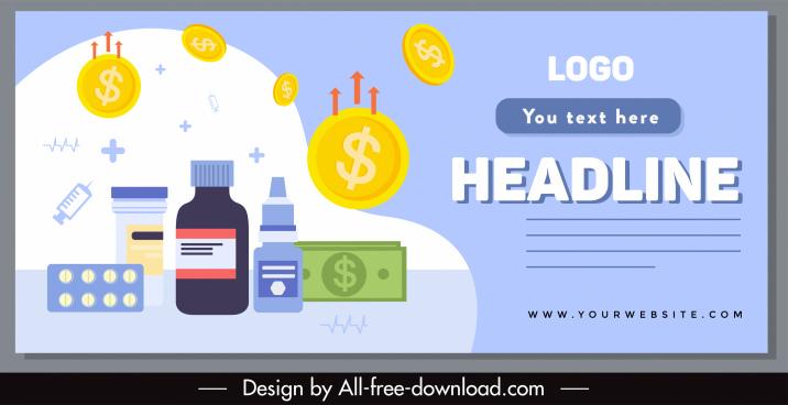 ncov epidemic banner medical currency elements sketch