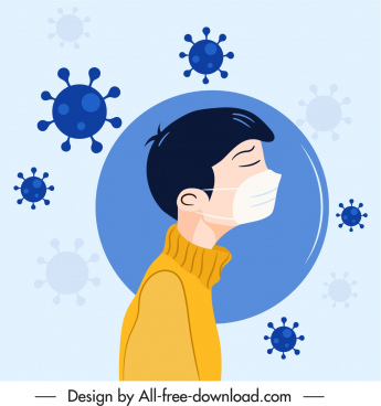ncov epidemic poster viruses masking patient sketch