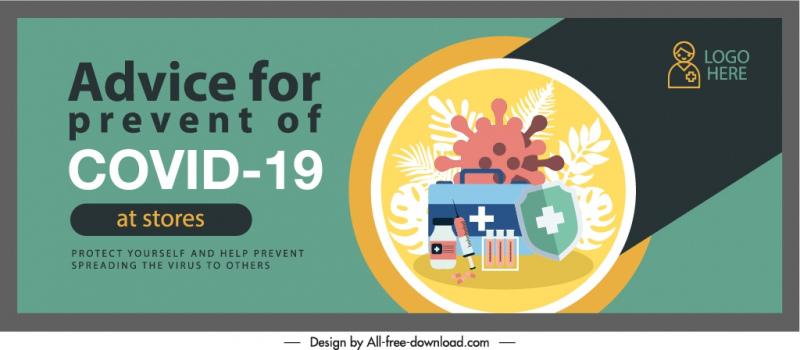 ncov prevention banner template virus medical elements sketch