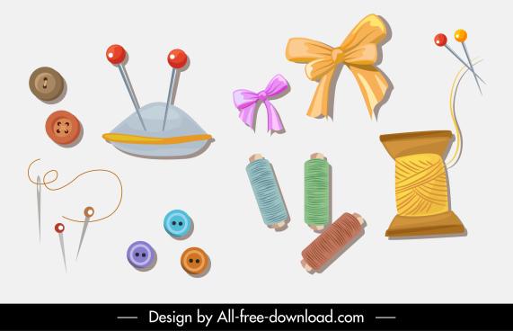 needlework design elements needle stitch fabric buttons sketch