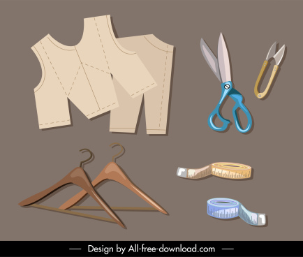 needlework design elements tools objects sketch classical design