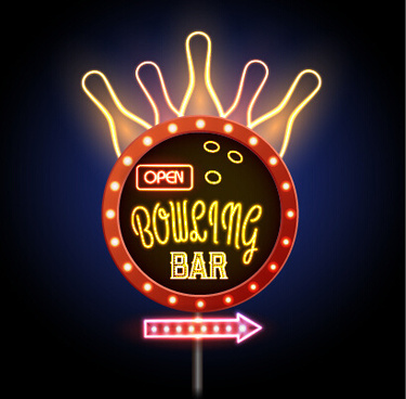 neon advertising sign vectors