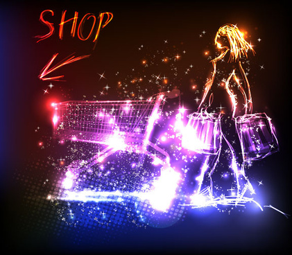 neon and people illustrations vector