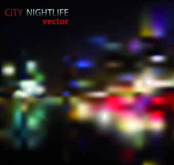 neon city nightlife vector background set