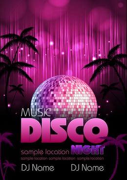 neon disco music party flyers design vector