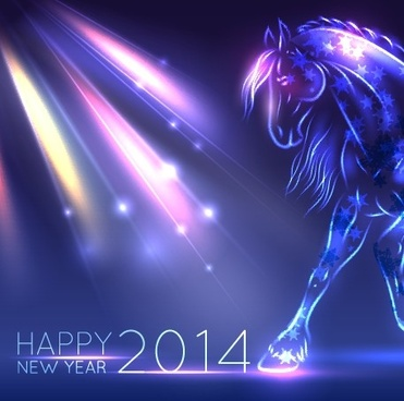 neon horse new year design vector background
