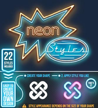 neon light logos design set