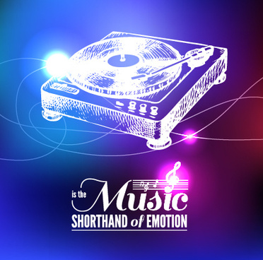 neon light with music background vector
