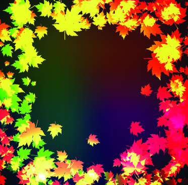 neon lights with maple leaves design vector