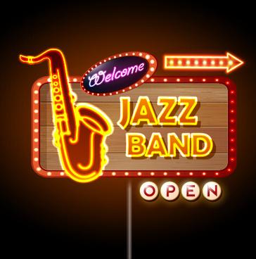 neon sign jazz bar vector graphics