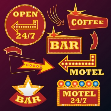 neon sign templates various colored flat shapes
